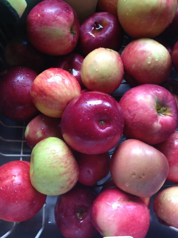 Red apples in the sink.