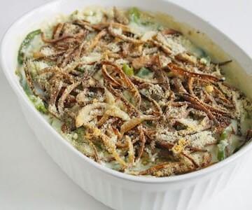 Gluten-free green bean casserole in a white dish.