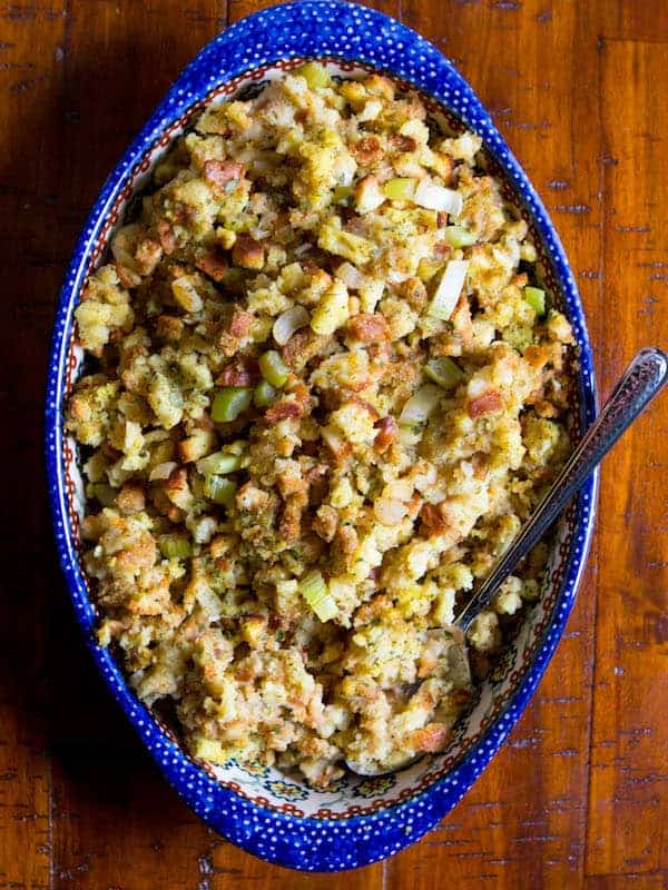 Gluten-free stuffing in a blue dish.