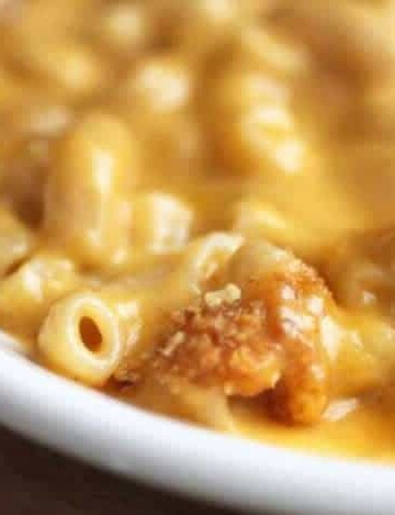 Gluten-free macaroni and cheese on a plate.