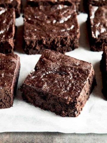 Paleo brownies cut into squares.