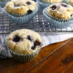 Gluten-Free blueberry muffins on wire rack.