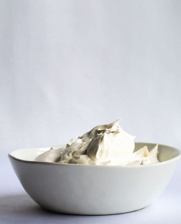 Bowl of whipped coconut cream.