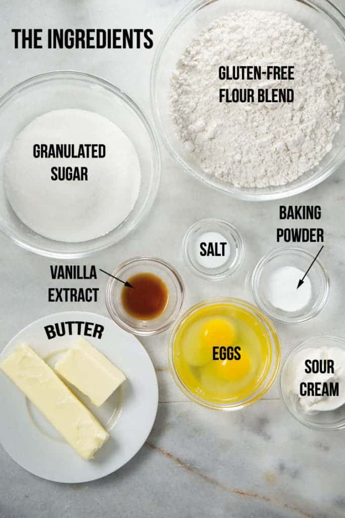 Gluten-free soft sugar cookie ingredients in bowls.