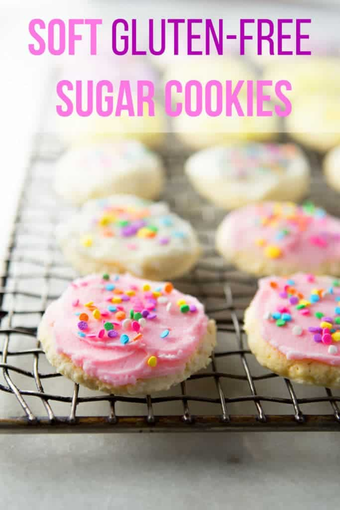 Gluten-Free Soft Sugar Cookies Recipe | These Lofthouse-style Sugar Cookies are so easy to make! | Made with sour cream and finished with frosting.
