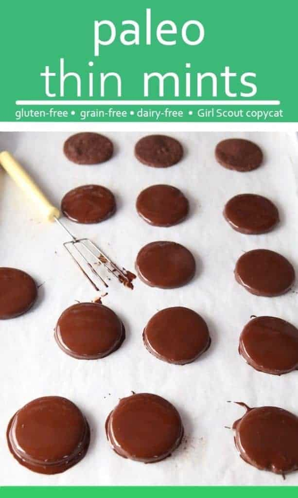 Text on Image: Paleo thin mints. Image shows paleo thin mints cookies dipped in chocolate on parchment paper.