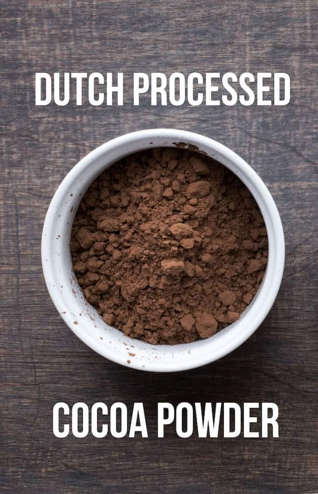 Dutch processed cocoa powder in a white bowl.