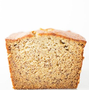 Loaf of gluten-free banana bread.