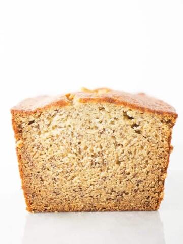 Loaf of gluten-free banana bread.