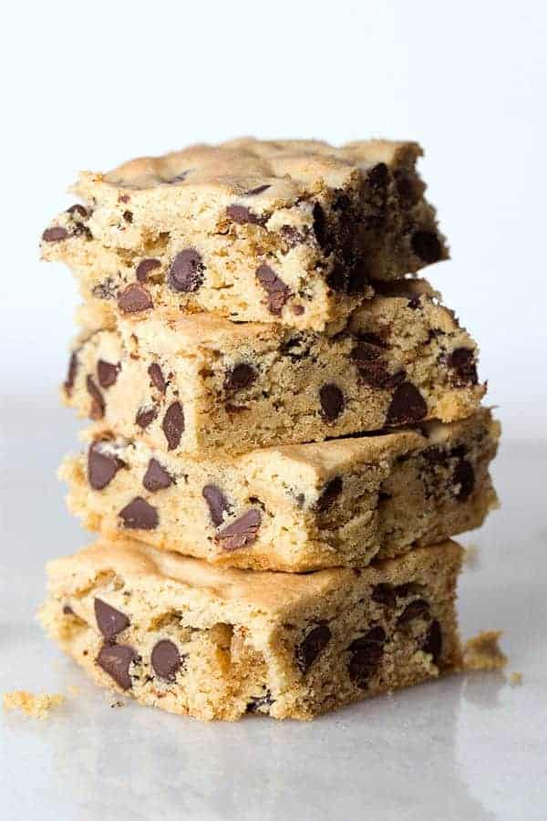 Gluten-Free Chocolate Chip Cookie Bars in a stack.