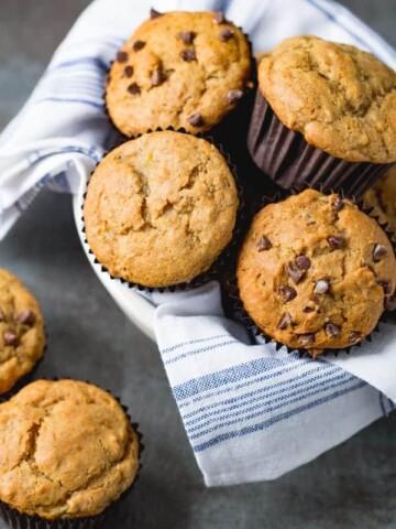 Basket of gluten-free banana muffins.