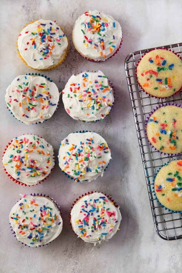 Gluten-Free Funfetti Cupcakes. Topped with Sprinkles
