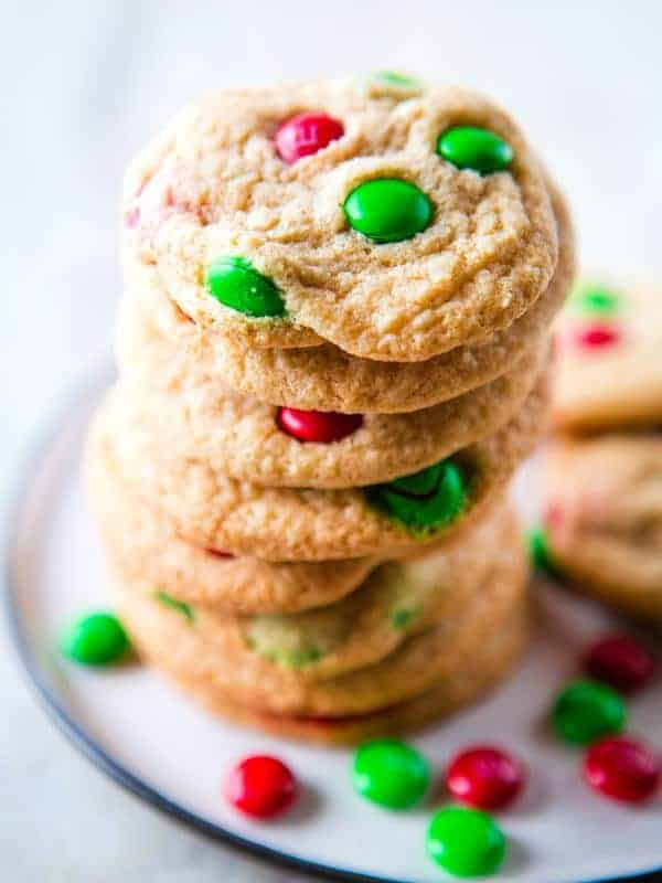 Gluten-Free M&Ms Cookie Recipe. Soft and Buttery Sugar Cookies with M&Ms. Perfect for Christmas.