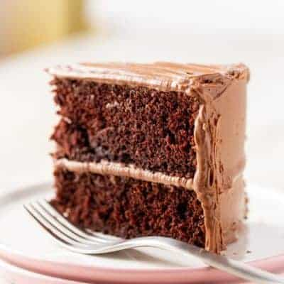 Slice of Gluten-Free Chocolate Cake on a Plate.