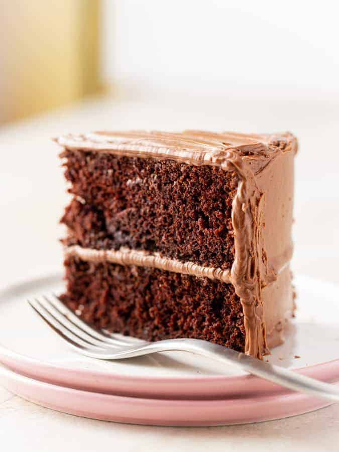 Slice Of Gluten Free Chocolate Cake On A Plate