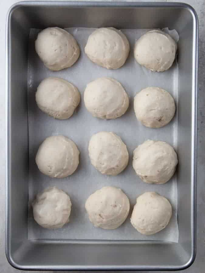 Gluten-Free Soft Roll Dough Shaped on a Pan Photo