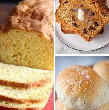 Three Images: Far Left: Gluten-Free Sandwich Bread. Top Right: Toasted, Buttered Gluten-Free Sandwich Bread. Bottom Right: Baked Gluten-Free Soft Dinner Rolls