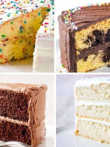 4 Gluten-Free Cakes. Upper left: Funfetti Cake. Upper Right: Marble Cake. Lower Left: Chocolate Cake. Lower Right: White Cake.