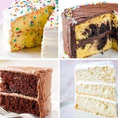 4 Gluten-Free Cakes. Upper left: Funfetti Cake. Upper Right: Marble Cake. Lower Left: Chocolate Cake. Lower Right: White Cake.