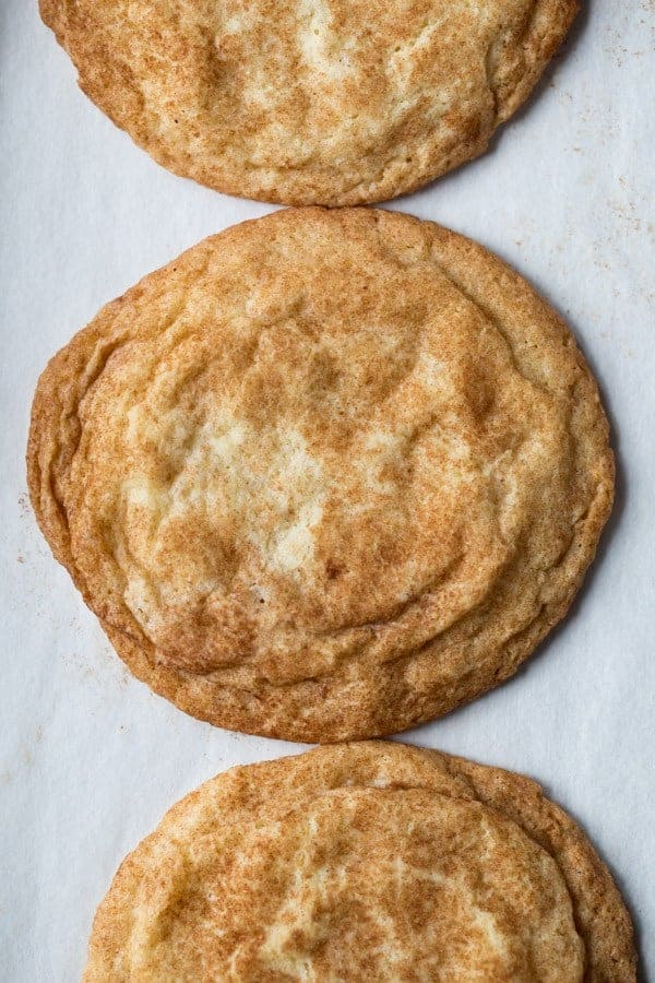 Overhead image of baked gluten-free snickerdoodles. Cookies are coated with cinnamon-sugar and wrinkled.