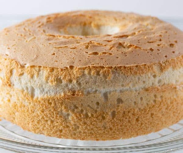 Gluten-Free Angel Food Cake on Cake Stand