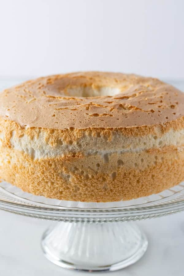 Gluten-Free Angel Food Cake on Cake Stand