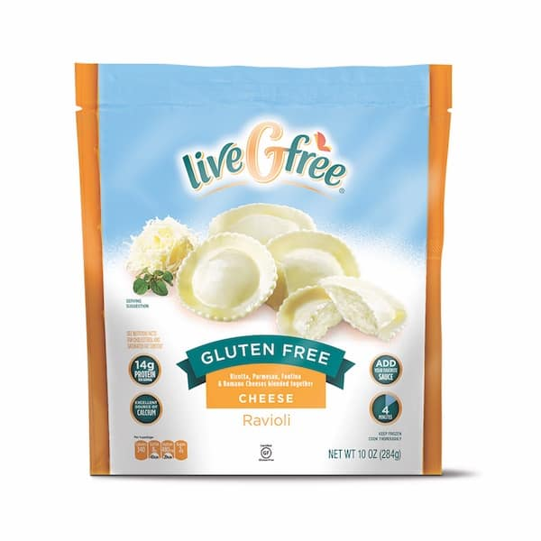 Box of Aldi liveGfree Gluten-Free Cheese Ravioli