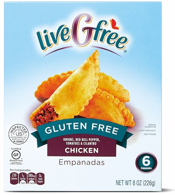 Box of Aldi liveGfree Gluten-Free Chicken Empanadas