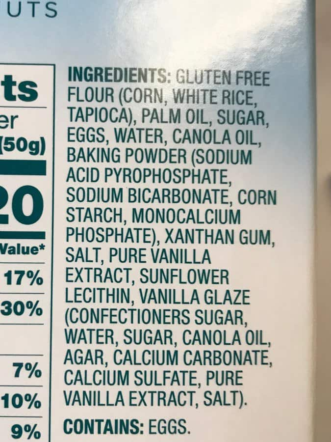 Aldi Gluten-Free Glazed Doughnuts Ingredients