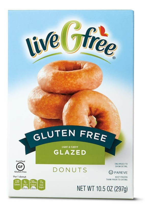 Box of Aldi liveGfree Gluten-Free Glazed Doughnuts