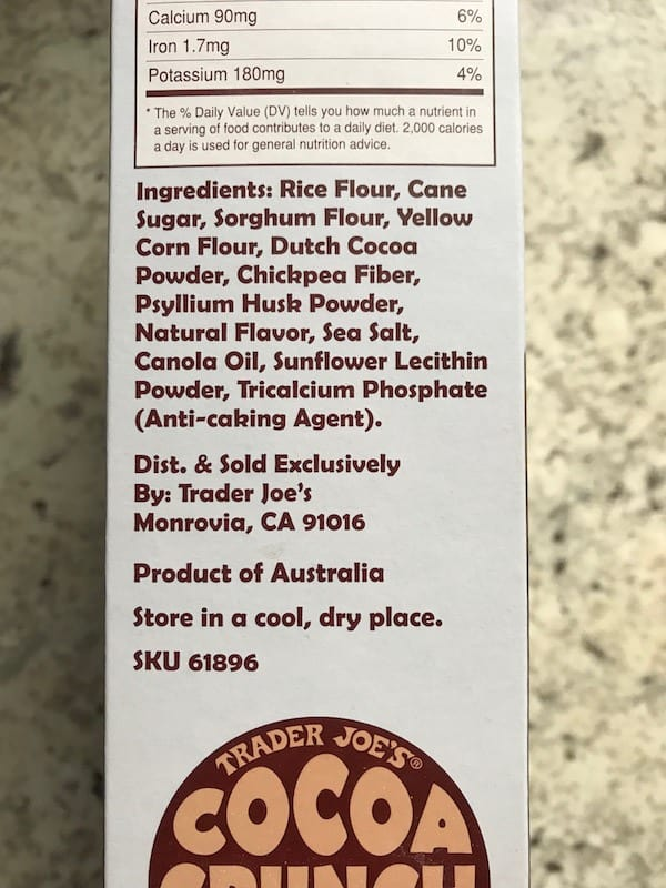 Trader Joe's Cocoa Crunch Cereal Ingredients