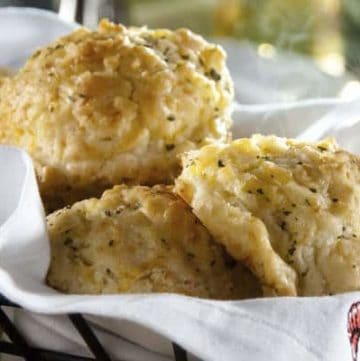 Baked Cheddar Bay Biscuits in a Basket