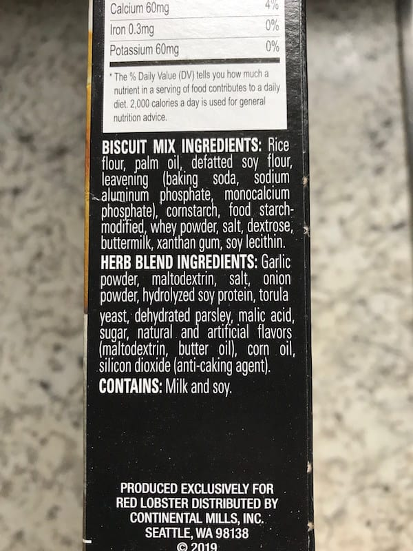 Red Lobster Gluten-Free Cheddar Bay Biscuit Review_Ingredients