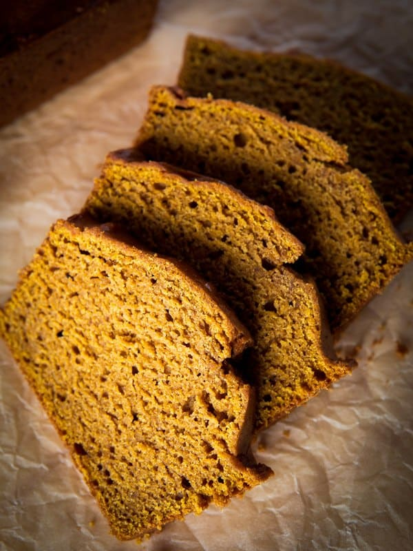 Sliced gluten-free pumpkin bread on brown parchment paper.