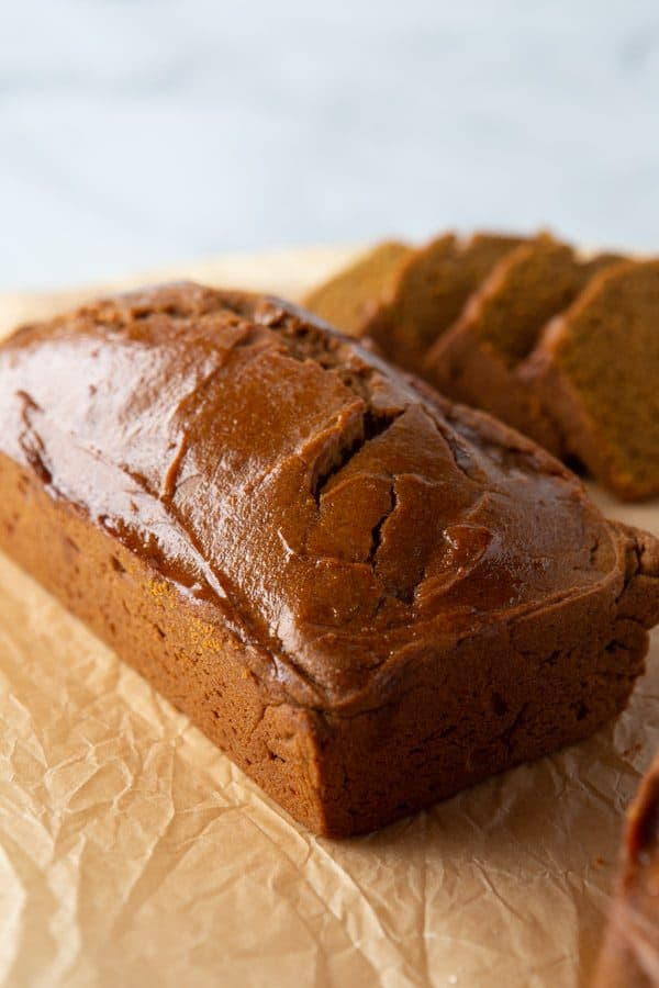 Baked loaf of gluten-free pumpkin bread