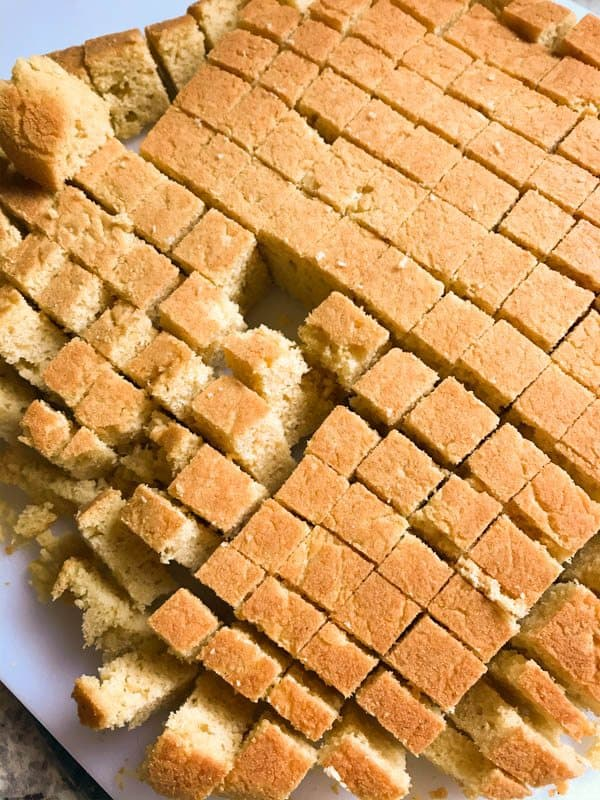 Gluten-Free Cornbread cut into cubes for stuffing