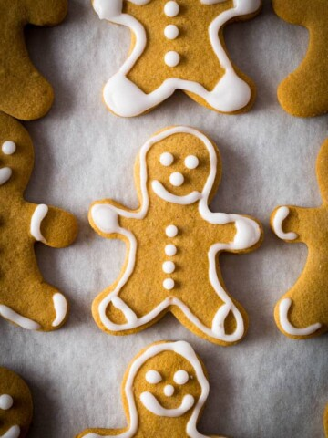 Baked gluten-free gingerbread cookie with icing
