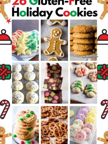 Written on Graphic: 26 Gluten-Free Holiday Cookies. 9 images of baked gluten-free cookies.