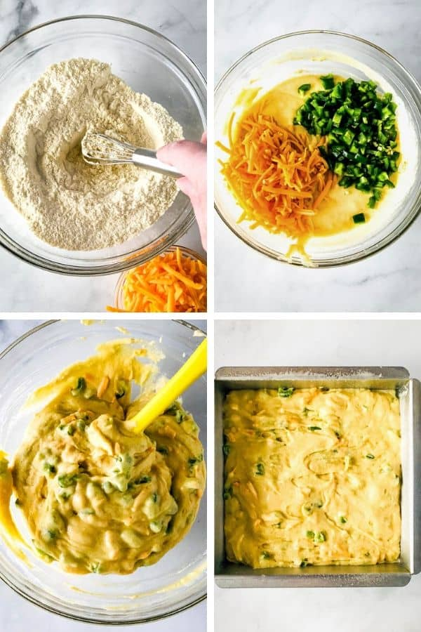 4 Images Showing Gluten-Free Jalapeno Cornbread Being Mixed
