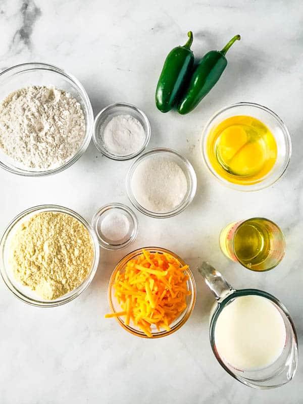 Ingredients for Gluten-Free Jalapeño Cheddar Cornbread