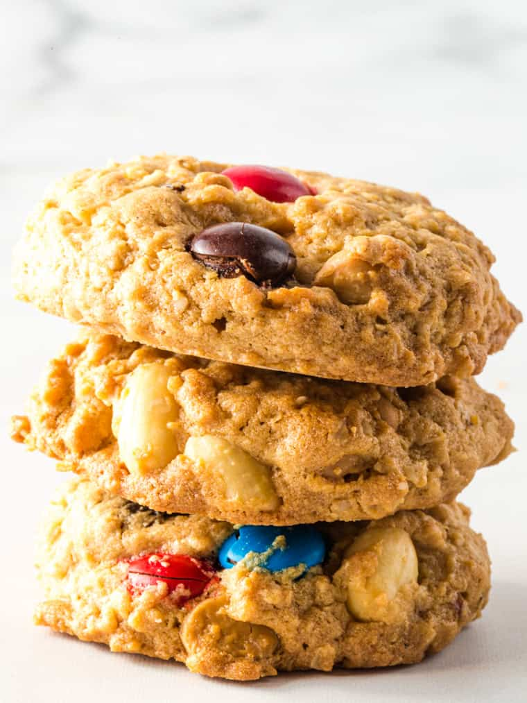 Stack of three gluten-free monster cookies