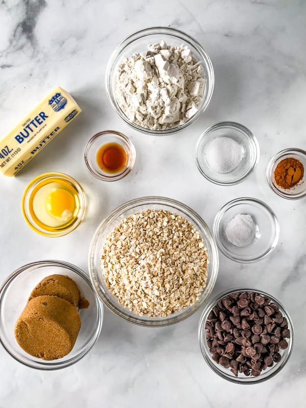 Ingredients for gluten-free oatmeal cookies.