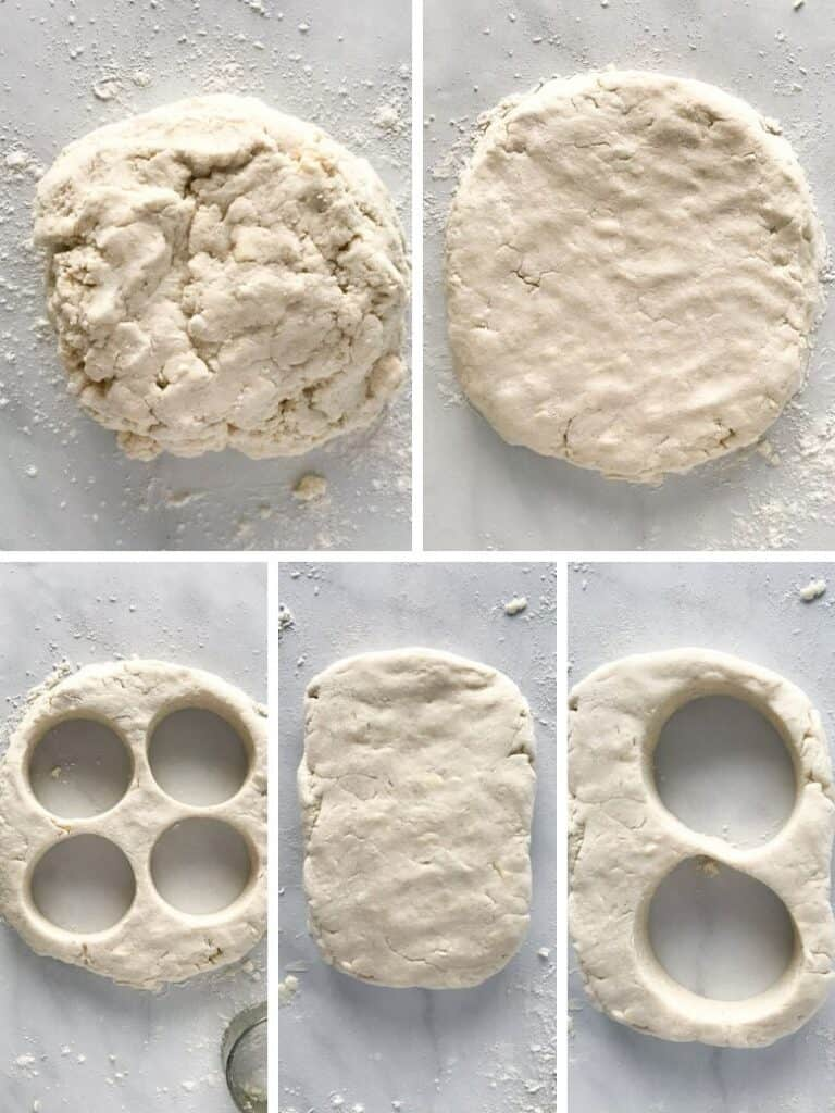 Five images showing how to cut out gluten-free biscuit dough.