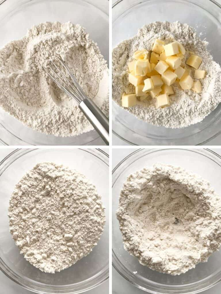 Four images showing the first four steps of making gluten-free biscuits.