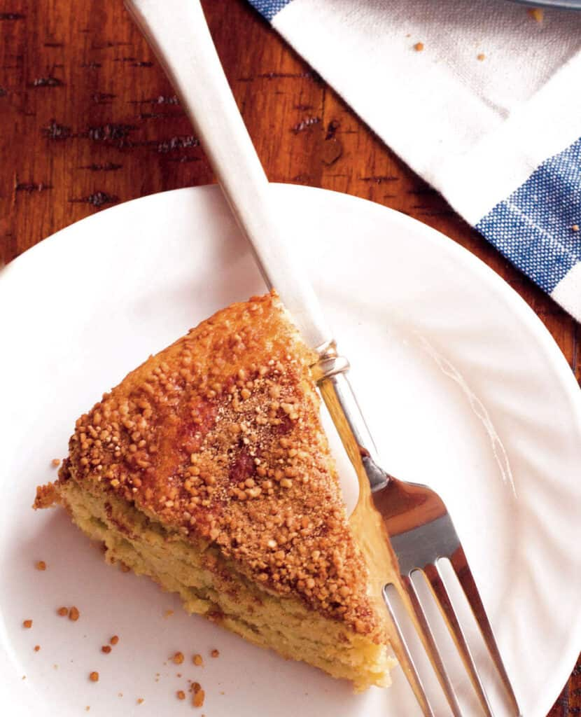 Slice of almond flour coffee cake on plate.