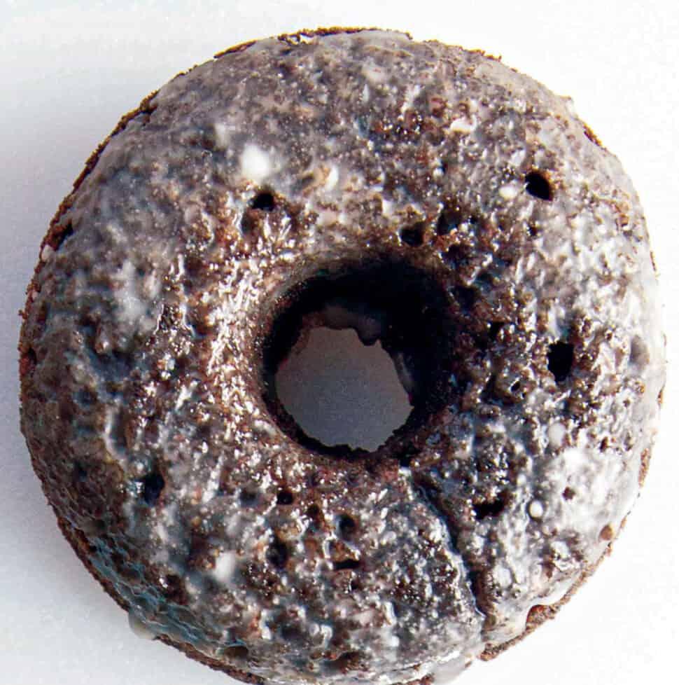One glazed grain-free chocolate doughnut.