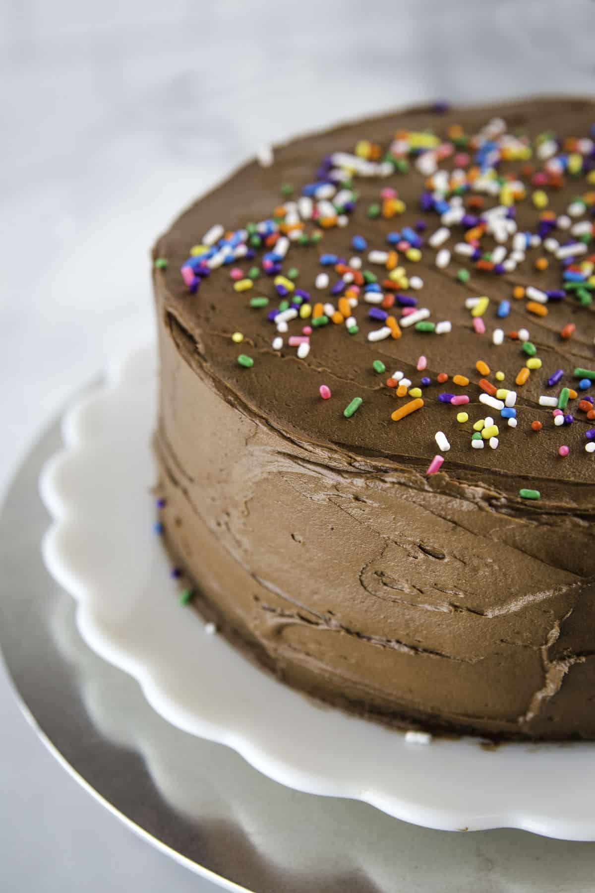 Almond flour cake frosted with chocolate frosting and colored sprinkles.