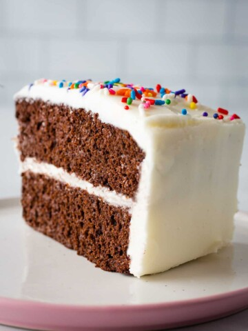 Slice of coconut flour chocolate cake with vanilla frosting and sprinkles.