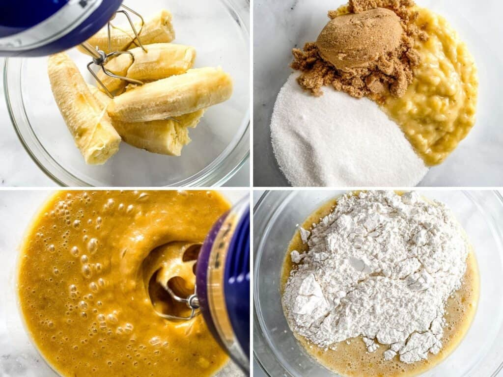 Clockwise: Bananas in a bowl. Mashed bananas with brown and granulated sugar. Mixing batter. Adding flour.