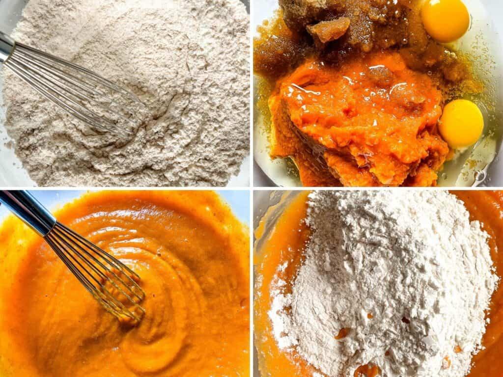 Top: Whisked dry ingredients. Eggs, sugar, pumpkin, oil in bowl. Bottom: Whisked pumpkin mixture. Flour on pumpkin mixture.